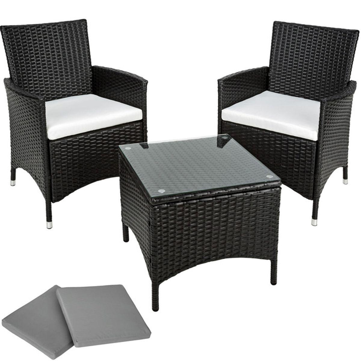 TECTAKE Salon de jardin ATHENES - 2 Chaises Fauteuils et 1 Table en ...
