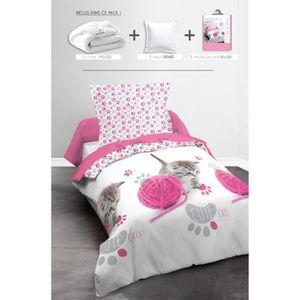 TODAY Pack Linge de lit enfant CUTE CAT : 1 couette 140x200cm + 1 oreiller 60x60cm + 1 Parure de couette Happy (1 housse + 1 taie)