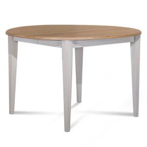 TABLE À MANGER SEULE Table ronde 105 cm en chêne pieds fuseau patinés b