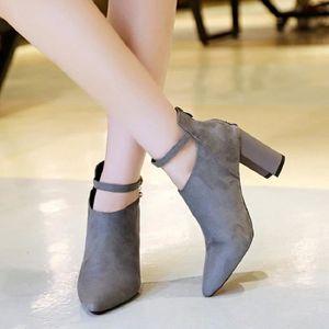 Bottines Femmes Automne Hiver talon épais en cuir bottes BSMG-XZ019Marron37 OvUoEFJ