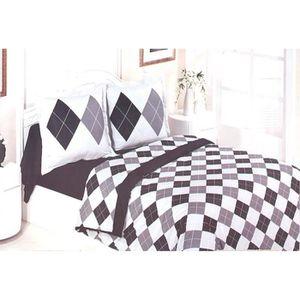 housse de couette 200x200 gris noir achat vente housse. Black Bedroom Furniture Sets. Home Design Ideas