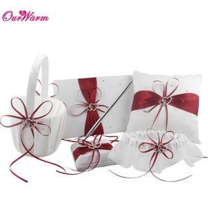 PORTE-ALLIANCE 5pcs/set satin rouge anneau de mariage oreiller et