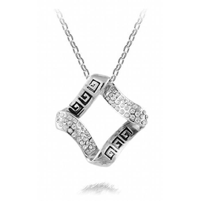 Womens Dazzling You Rhodium Plated Cubic Zirconia Studded Alloy Pendant For AndF9XVJ