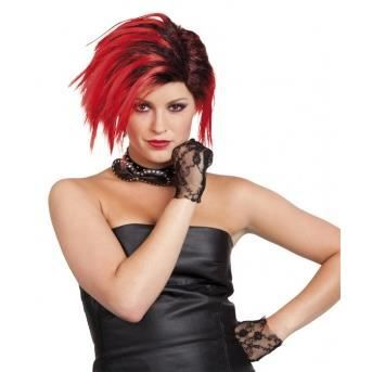 Perruque punk courte rouge femme - Achat