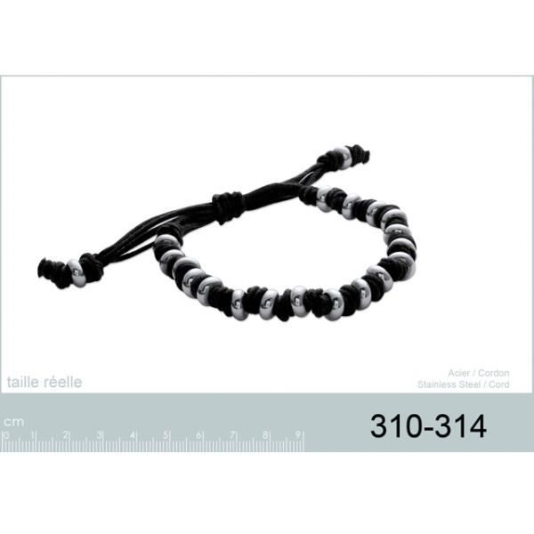 Bracelet pour femme en acier et coton noir