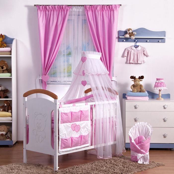 tour de lit bébé bébé 9 Parure linge lit bébé 9 pcs tour de lit ciel bébé Rose Rose  tour de lit bébé bébé 9