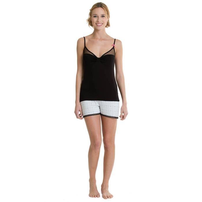 Pyjama Court Femme Noir - Achat   Vente pyjama - Cdiscount 04463921e5b