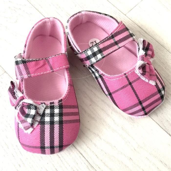 Chaussure souple bébé 0 à 12 mois, modèle Tartan rose soutenu
