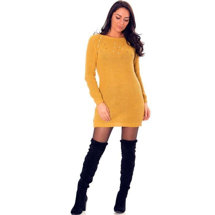 0410a43e7d5 Miss Wear Line Robe tunique moutarde à col bateau avec perles ...