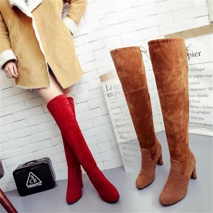 Lady daim cuisse en daim bottes hautes bottes genou étirent sexy super haut talons chaussures vin noir gris brun rouge,gris,35