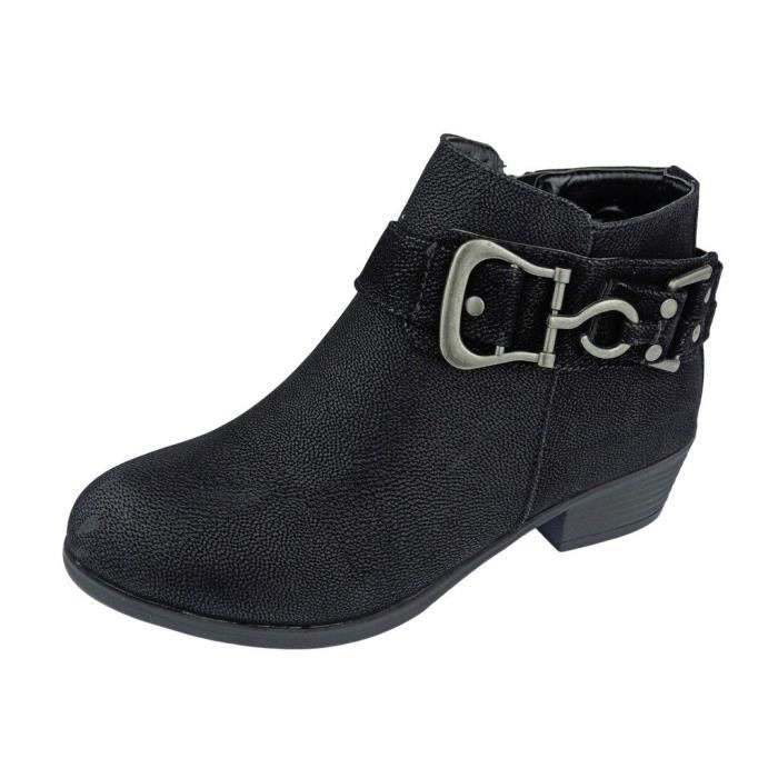 Ankle Boot Zoey-8 Vegan Leather Bit Ornament Embellished Strap Ankle Bootie Boots T0GHG Taille-41