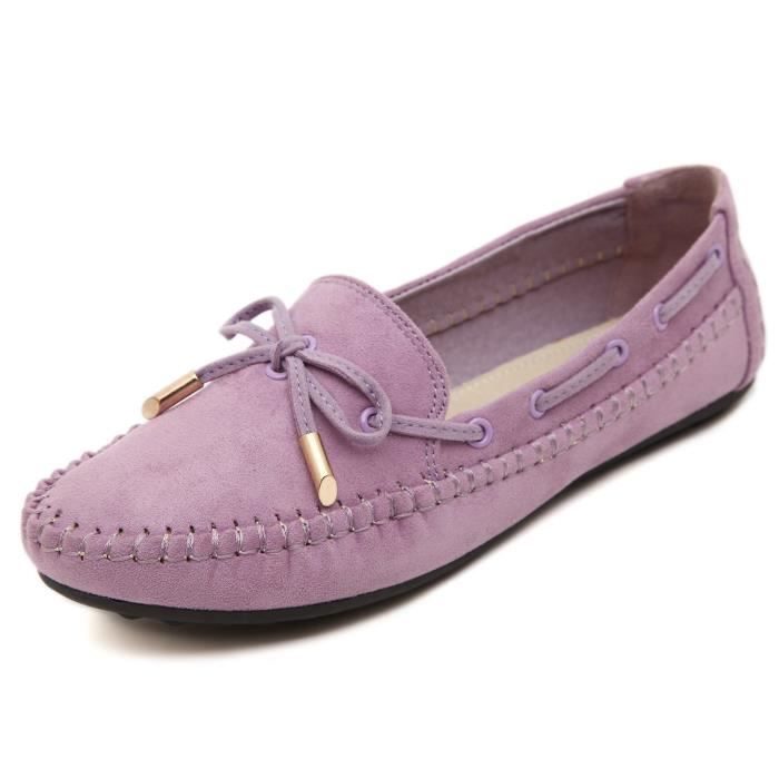 Womens Casual bowknot Mocassins Driving Mocassins Slip On Chaussures plates BFAS5 Taille-37