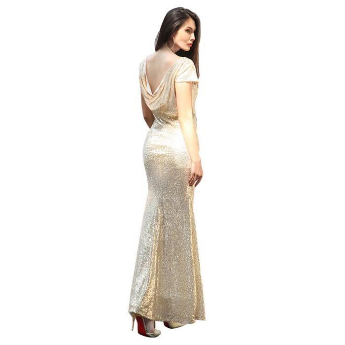 WoWa® Femme Robe de Soirée Mariage Robe à Paillettes Robe pour Soirée - Or