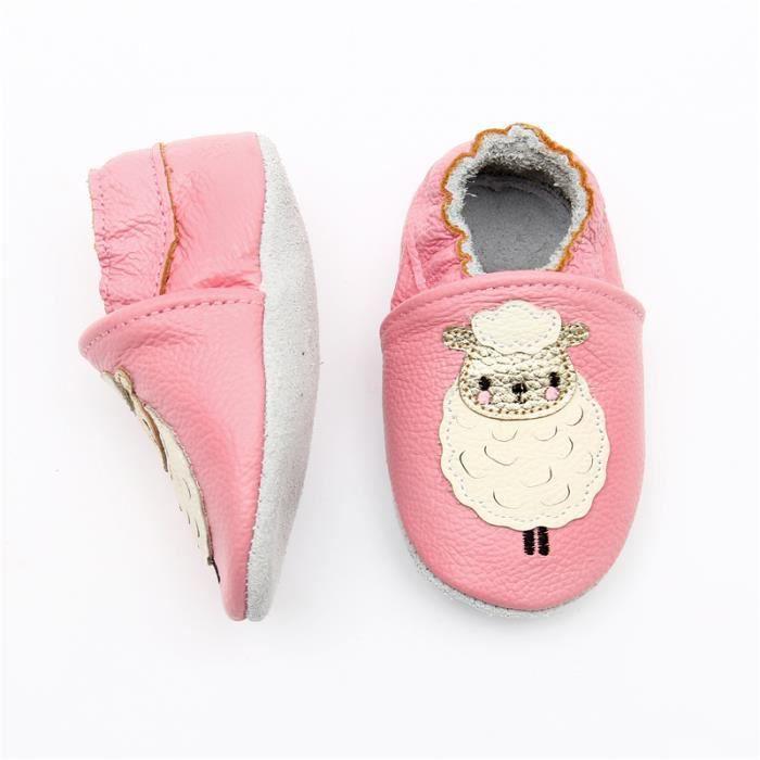 Chaussures Bébé en Cuir Souple Chaussures Mouton rose Bébé Chaussons ... 3b2a6226183b