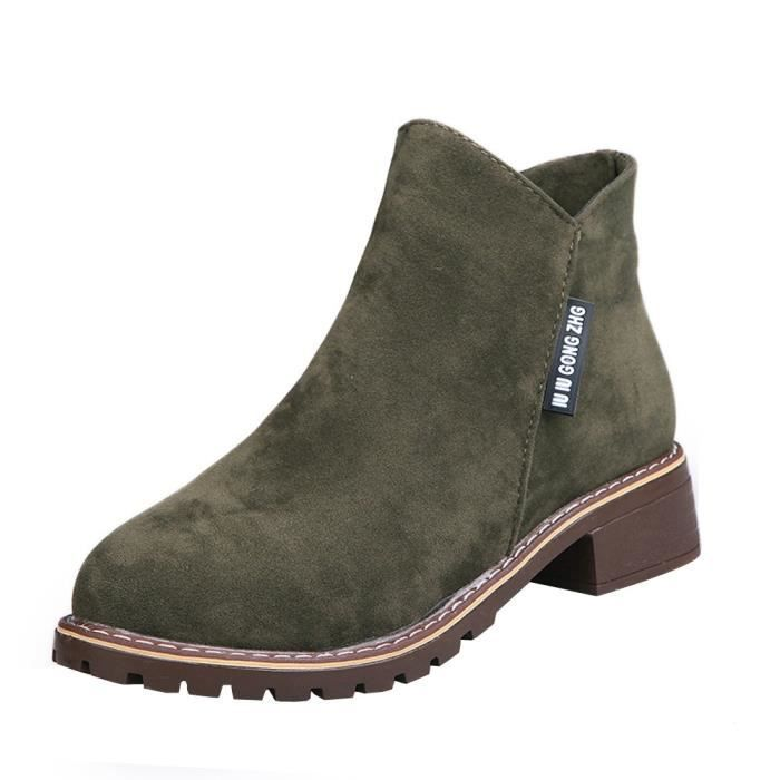 Low Ankle Femmes Arme Fashion Casual Verte Trim Leather Round Boots 6425 Toe Shoes Martin xz SnxS1T