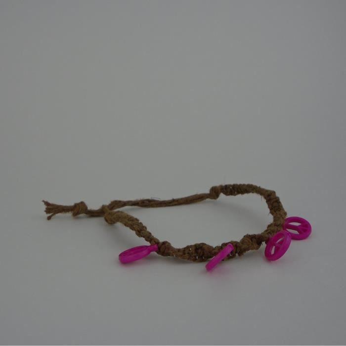 Womens Peace Sign Hot Pink Adjustable 6-10 Inches Hemp Bracelet Twist Square Mix Knot Macrame Cor VXON5