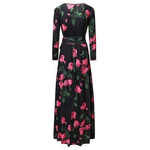 Robe à manches longues Robe manche longue occasionnel avec motif de rose robe descendant vers le plancher Robe, noir