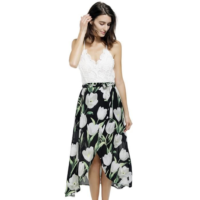 1249718eb0 Blooming Jelly Femmes Halter cou V profond robe asymétrique florale 2AH2NN  Taille-40 ...