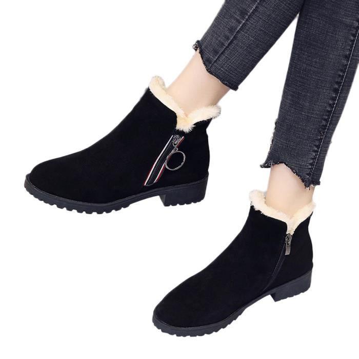 Chaussures 1982 Neige Toe Solides Suede De Couleur Femmes Garder Veberge Zipper Chaud Bottes Au Ronde Talons Suqare OUnTafq