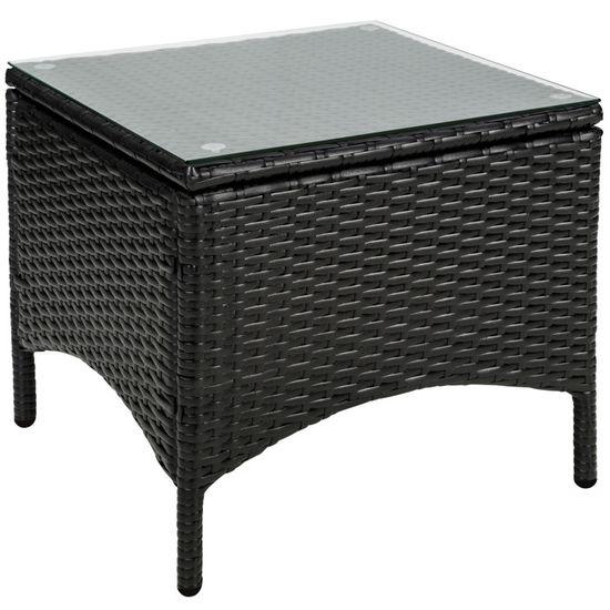 TECTAKE Salon de jardin ATHENES - 2 Chaises Fauteuils et 1 Table en Résine  Tressée structure Aluminium Noir