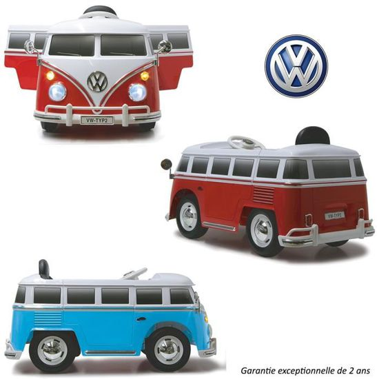 Van 12v Hippie Voiture Volkswagen Véhicule Électrique Bleu Mini 543RjqLA