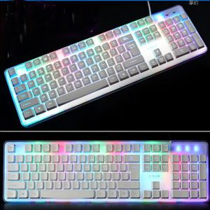 CLAVIER D'ORDINATEUR blanc clavier gamer avec de la lumière LED pour LO