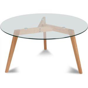 TABLE BASSE Table basse ronde scandinave verre et chêne