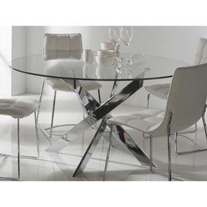 TABLE À MANGER SEULE Table à manger ronde en métal et verre trempé YOR