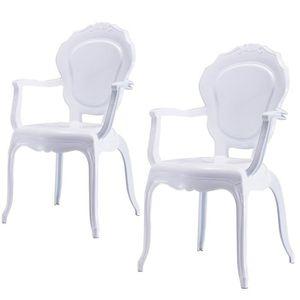 lot de 2 fauteuil polycarbonate blanc epure au Résultat Supérieur 1 Merveilleux Petit Fauteuil Design Und Chaise Discount Pour Deco Chambre Image 2017 Lok9