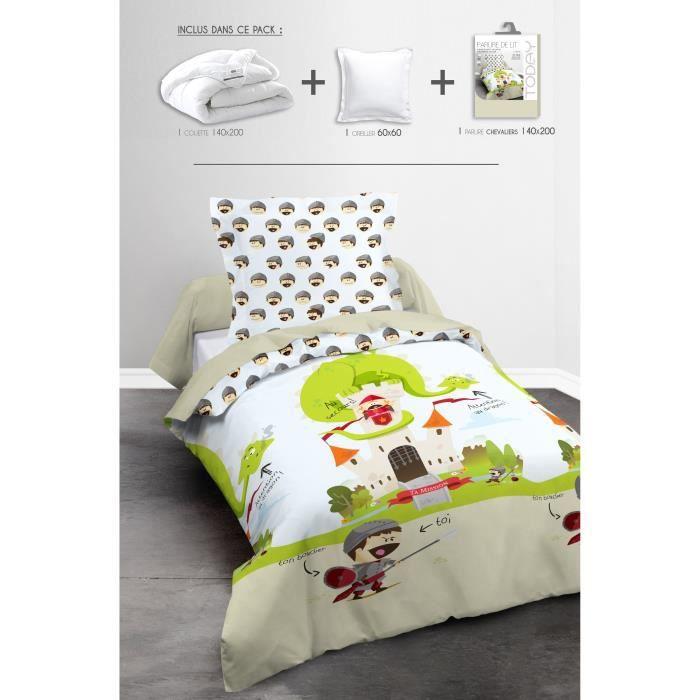 Matière : 100% polyester et 100% coton - Dimensions : 60x60/63x63/140x200/220x240cm - Coloris : blanc et beigePACK LINGE DE LIT