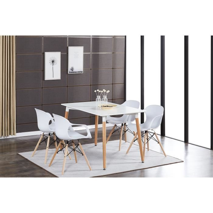 Table A Manger Blanche 4 Chaises Modernes Blanches