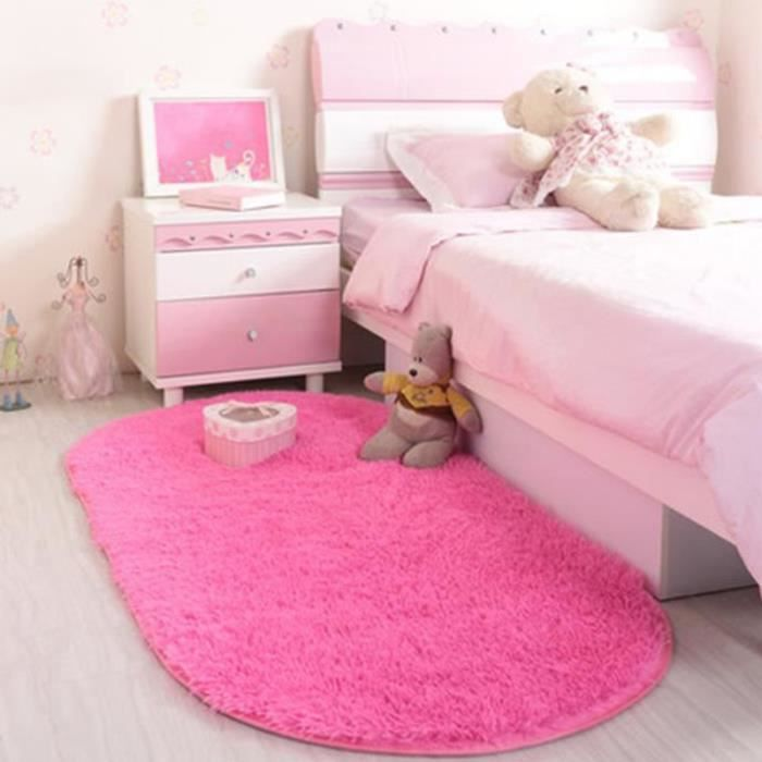 Tapis Salon Carpet Tapis Chambre Enfant Devant Lit Ovale Tapis Shaggy Yoga  Moquette Anti Dérapage Absorbant Velours 80*160cm Rose