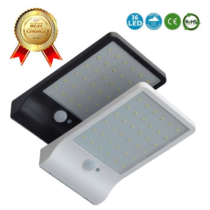 LCC® Lampe solaire 36 led avec détecteur de mouvements numérique ...