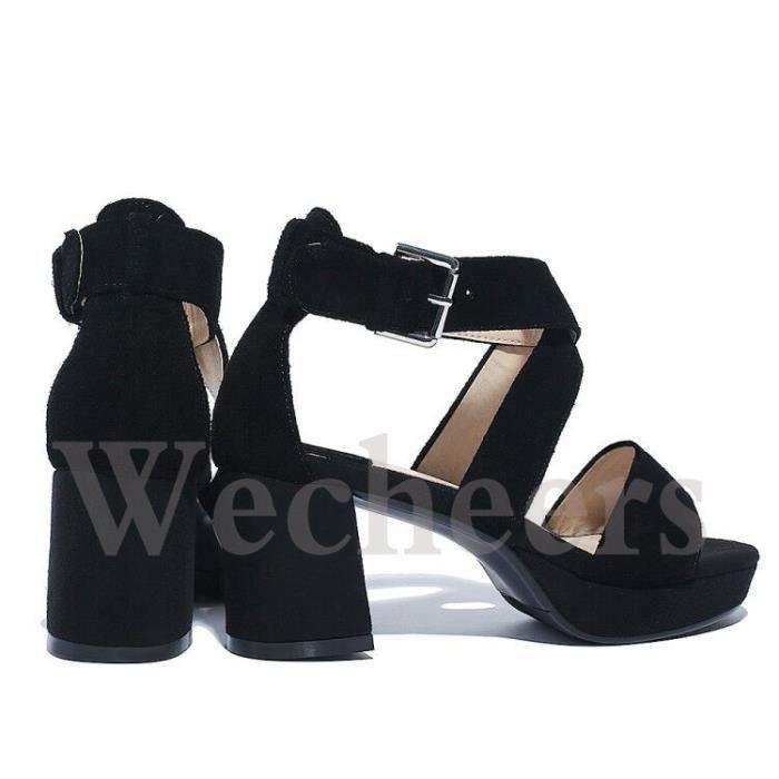 chaussures à talons hauts cuir sandales bandage talon gros hauteur moyenne