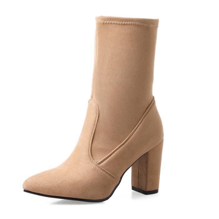 GLAM®les bottes en cuir au mode femme séguin toe élastique chaussures XpjqI