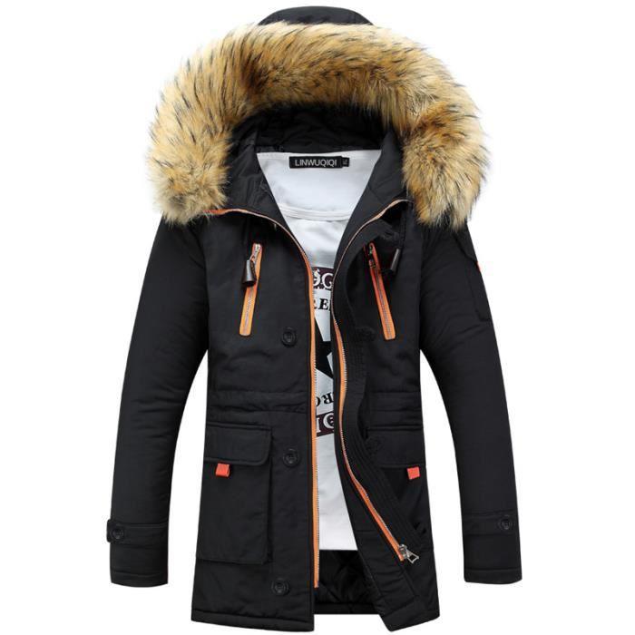 3879696840 Parka Veste D'hiver A Capuche En Fause Fourrure Amovible Pour Homme ...