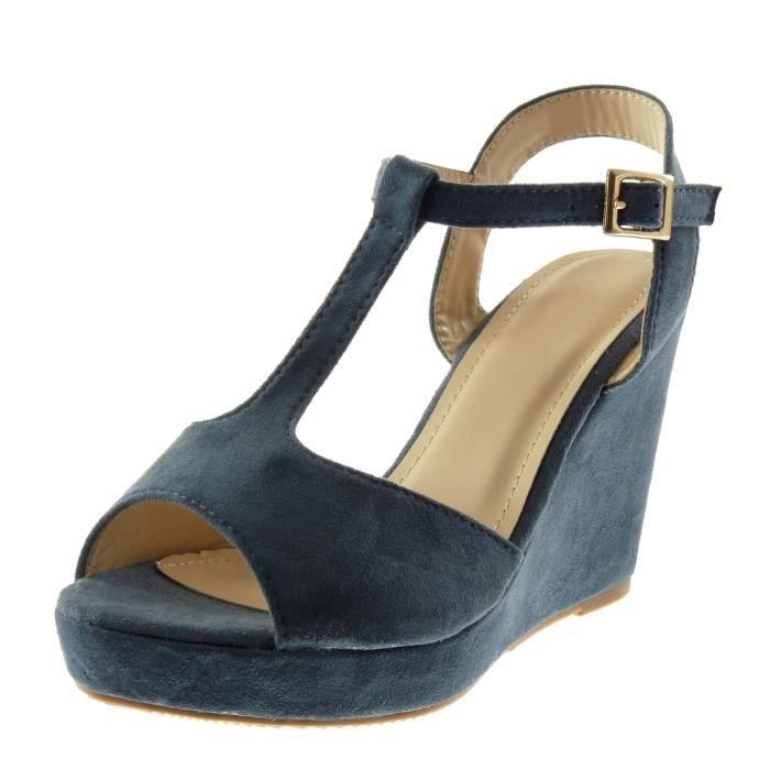 Angkorly - Chaussure Mode Sandale Mule salomés Peep-Toe plateforme femme lanière Talon compensé plateforme 10 CM - Bleu - 333-6 T 39