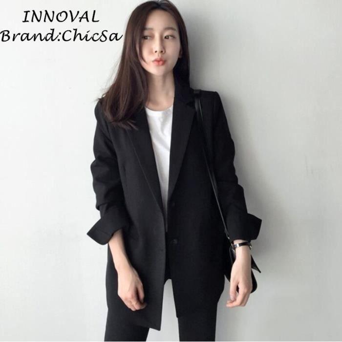 Grande Longue Blazer Bureau Taille Milieu Noir Couleur Casual Femme Ow5IzS