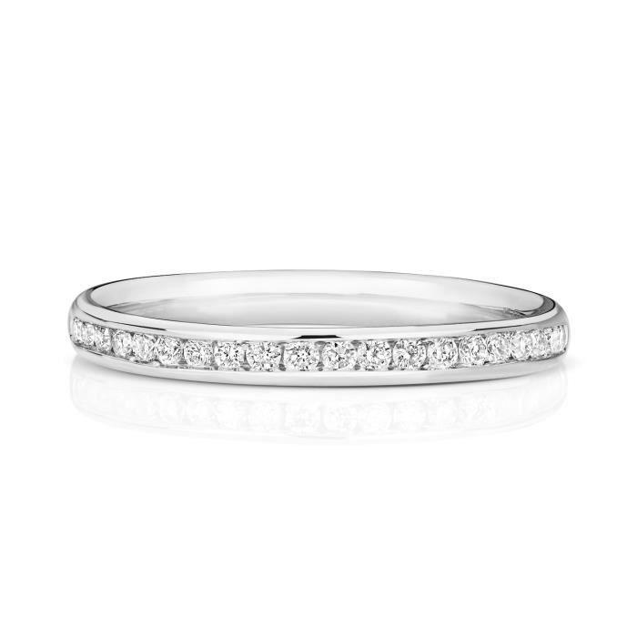 Bague de Mariage-Alliance Femme Semi Pavée 2,2mm Or Blanc 750-1000 et Diamant Brillant 0.19 Carat G - SI1 31104