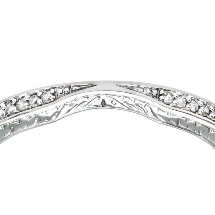 Revoni Bague alliance Diamant Or Blanc 375° Femme: Poids du diamant : 0.04 ct - CD-PR08510BW-P