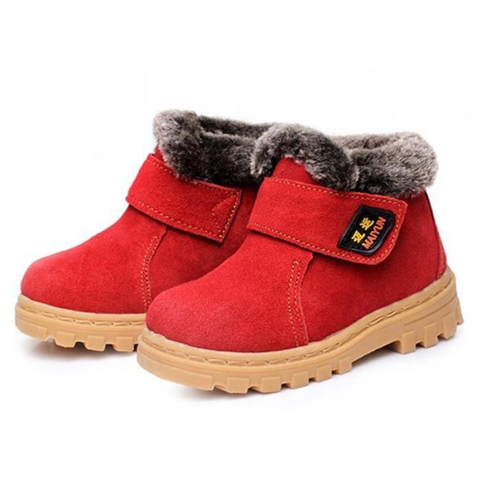 Enfants Bottes De Neige Hiver Cuir Velours Peluche Daim Garçons Filles Bébé Chaussures Étanches Bottes De Neige Martin Oxford Casual