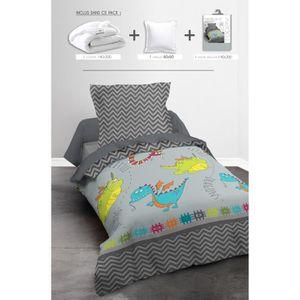 TODAY Pack Linge de lit enfant DRAGONS: 1 couette 140x200cm + 1 oreiller 60x60cm + 1 Parure de couette Happy (1 housse + 1 taie)