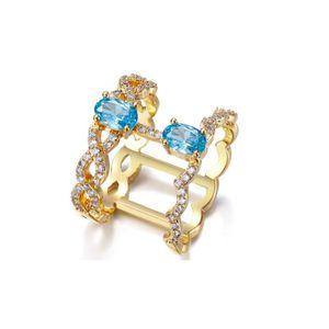 Bague en Cristal Swarovski Elements Blanc et Bleu et Plaqué Rhodium - Blue  Pearls a46fe6363a1c
