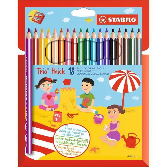 STABILO Etui carton de 18 crayons de couleur Trio + 1 taille-crayon