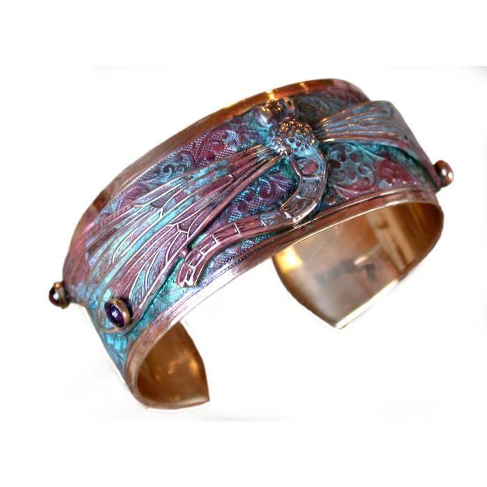 Womens Patina Dragonfly Cuff Bracelet - Semi-precious Stones ZZD4W
