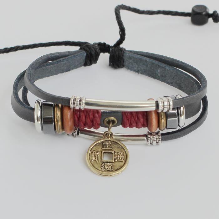Bracelet en cuir pour femme Bracelet en cuir ancienne pièce de monnaie Bracelet Charm Bracelet Perles chinois Bracel QV2SL