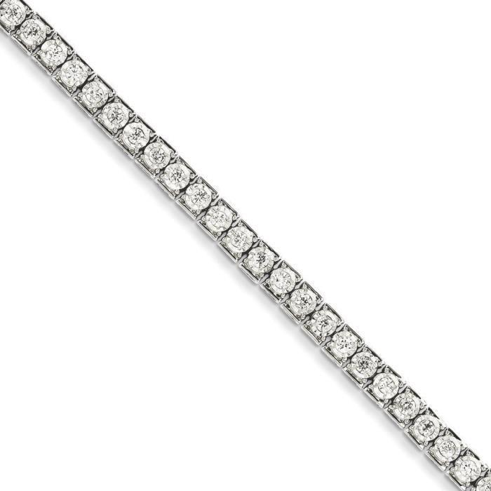 Or blanc 14 carats-Diamant Bracelet de Tennis