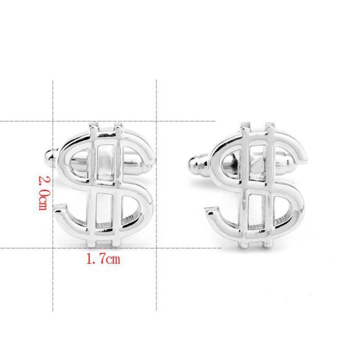 De Mode US Dollar Symbole Bijoux De Mode de boutons de Manchette Hommes Français Chemise Boutons de Manchette Accessoires