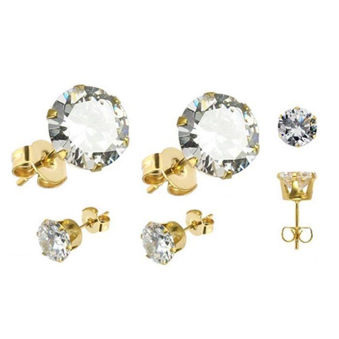 Paire De Boucle D Oreilles Homme Femme Diamant Plaque Or 4 6 8 10 Mm
