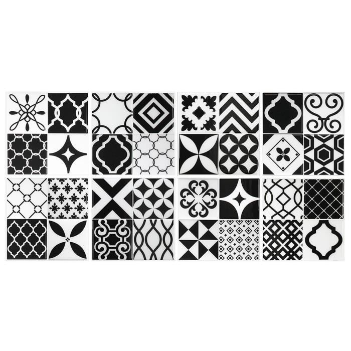 carrelage mural vintage noir et blanc achat vente stickers cdiscount. Black Bedroom Furniture Sets. Home Design Ideas